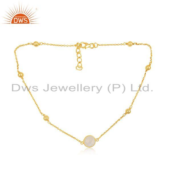 Rainbow Moonstone 925 Sterling Silver Gold Plated Gemstone Chain Necklace