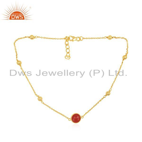 Red Onyx Gemstone Pendant Manufacturer of Gold Plated 925 Silver Necklace