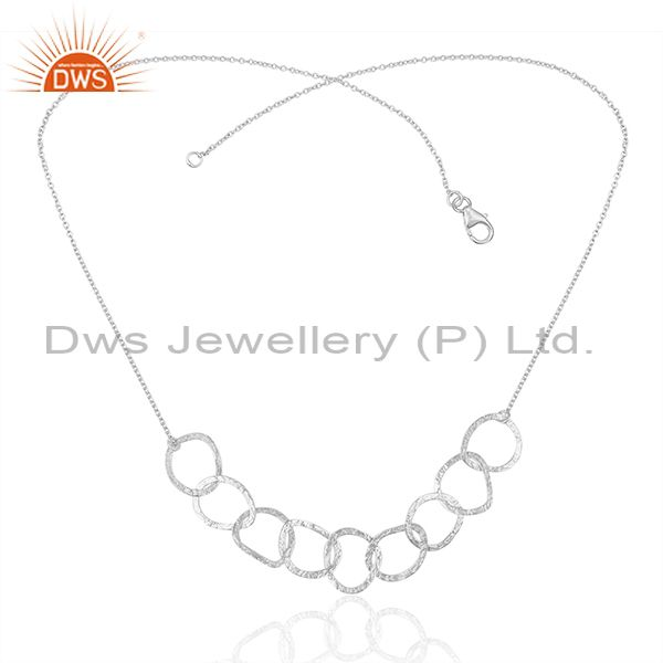 Indian Handmade Fine Sterling Silver Chain and Link Necklace Wholesale