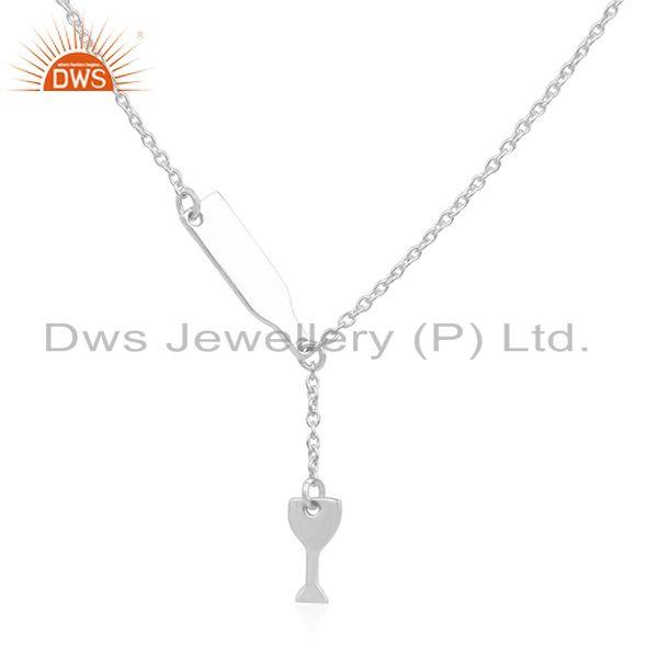 Handmade Plain Fine Sterling Silver Designer Chain Necklace Wholesale