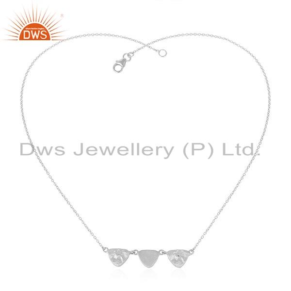 Texture Sterling Silver White Zircon Gemstone Womens Necklace Jewelry