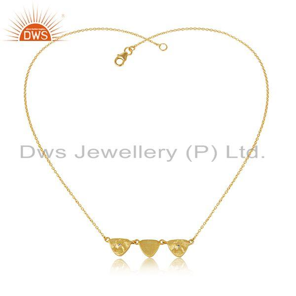 Indian Handmade Sterling Silver Gold Plated Zircon Chain Necklace