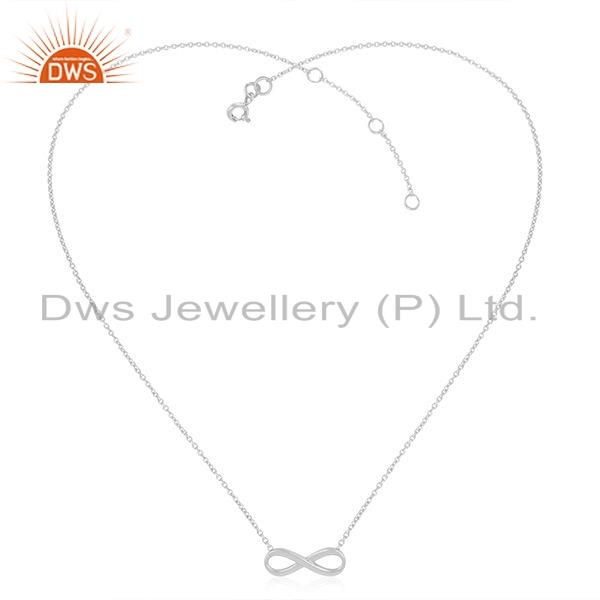 White Rhodium Plated 925 SIlver Womens Infinity Design Chain Necklace Jewelry
