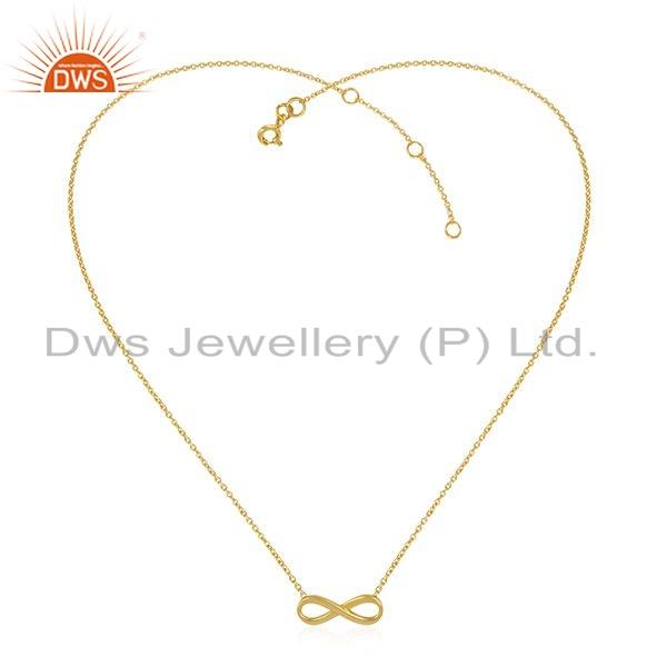 Infinity Design 18k Gold Plated 925 Silver Girl Chain Necklace Jewelry