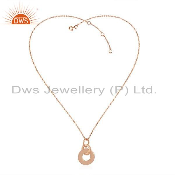 Rose Gold Plated 925 Sterling Silver Round Design Pendant Necklace Jewelry For Girls