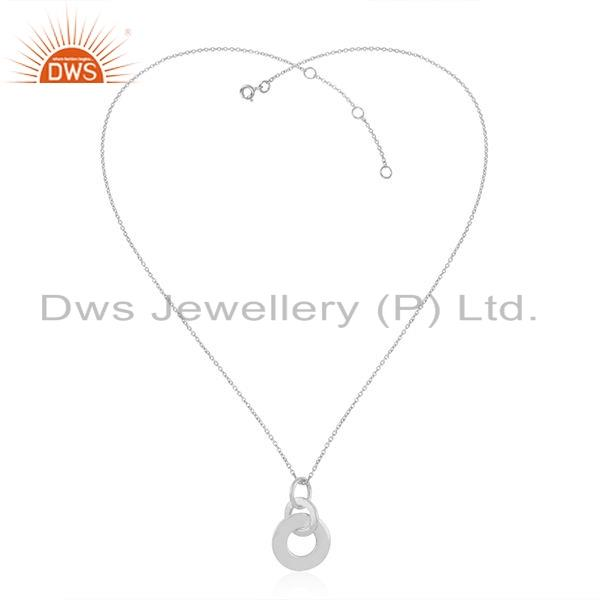 New White Rhodium Plated 925 Silver Designer Pendant Necklace Jewelry