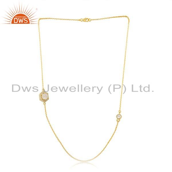 Rainbow Moonstone CZ Gemstone 18k Gold Plated Silver Designer Chain Necklace Jewelry For Womens