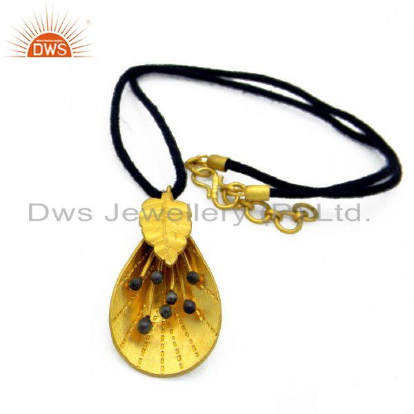 18K Yellow Gold Plated Sterling Silver Designer Pendant Necklace