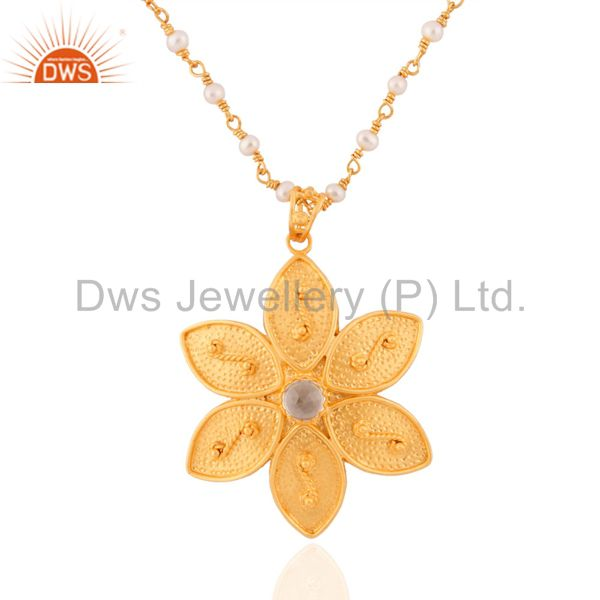 18k Gold GP Flower Pendnat Pearl Beads Single Strand Sterling Silver Necklace