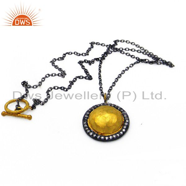 Oxidized And 22K Yellow Gold Plated Sterling Silver CZ Disc Pendant With Chain