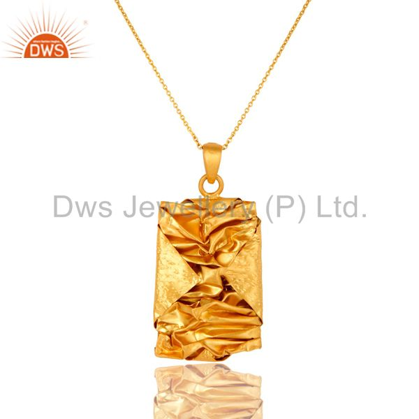 Indian Artisan Handcrafted Sterling Silver Yellow Gold Plated Designer Pendant