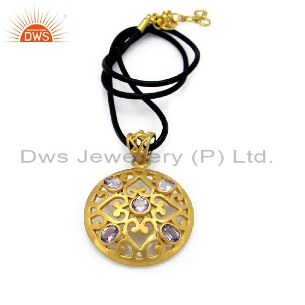 22K Yellow Gold Plated Sterling Silver Blue Topaz Pendant With Black Cord