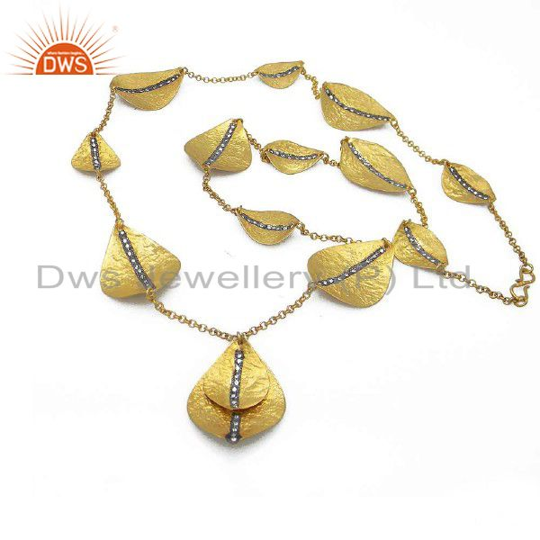22K Yellow Gold Plated Sterling Silver Hammered CZ Petals Chain Necklace