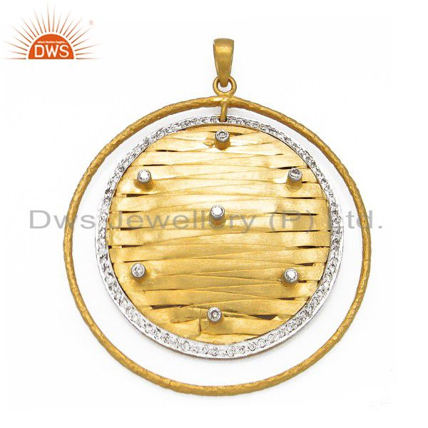 22K Yellow Gold Plated Sterling Silver Cubic Zirconia Woven Designer Pendant