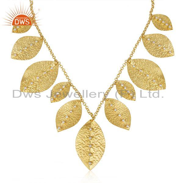 Handmade Sterling Silver Gold Plated Pearl Leaf Necklace Wholesale