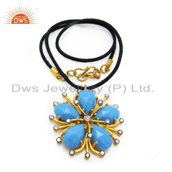 22K Yellow Gold Plated Sterling Silver Turquoise & CZ Pendant With Cord Necklace