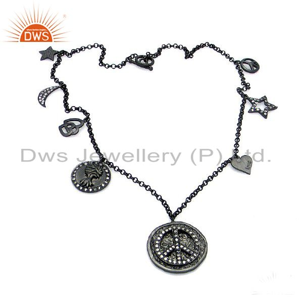 Black Rhodium Plated Sterling Silver Cubic Zirconia Religious Charms Necklace