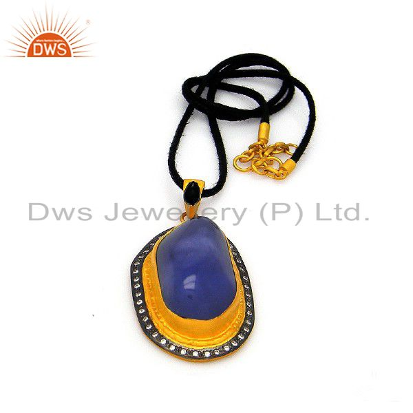22K Gold Plated Sterling Silver Blue Chalcedony And CZ Pendant With Black Cord