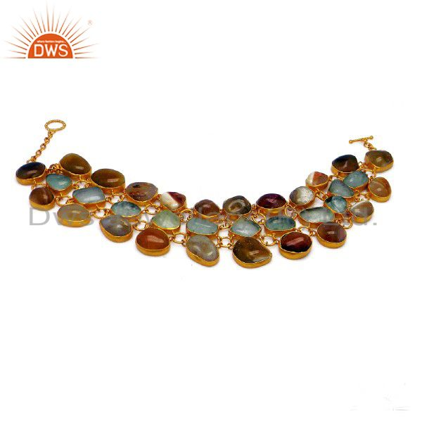 22K Yellow Gold Plated Sterling Silver White Agate Gemstone Bracelet
