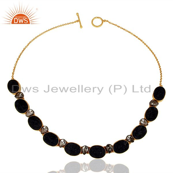 22K Yellow Gold Plated Sterling Silver Dyed Blue Sapphire And CZ Choker Necklace