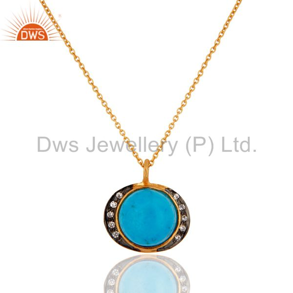 Handcrafted Turquoise Gemstone 925 Sterling Silver Gold Plated Pendant Jewelry
