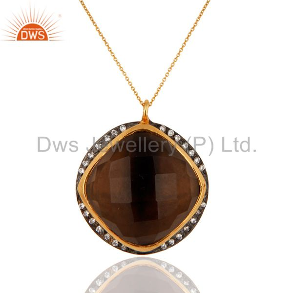 Natural Smoky Quartz Gemstone Pendant Made In 18K Gold Over 925 Sterling Silver