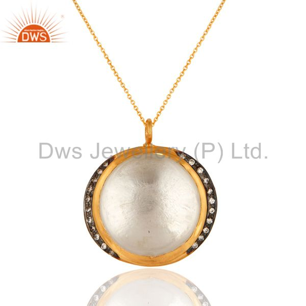Natural Crystal Quartz Sterling Silver Pendant Necklace - 18K Gold Plated
