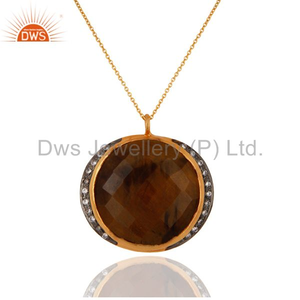 Natural Tiger Eye Gemstone Gold Plated Sterling Silver 925 Pendant With Chain