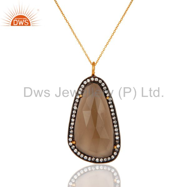 Designer Smoky Quartz Gemstone Gold Plated 925 Sterling Silver Pendant Necklace