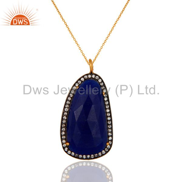 "Gold Plated Sterling Silver Blue Aventurine Gemstone Pendant 16"" In Necklace"