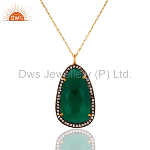 18k Gold Plated 925 Sterling Silver Green Onyx Gemstone Pendant With Zircon