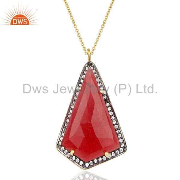 14K Gold Plated 925 Sterling Silver Red Aventurine CZ Chain Pendant Jewelry