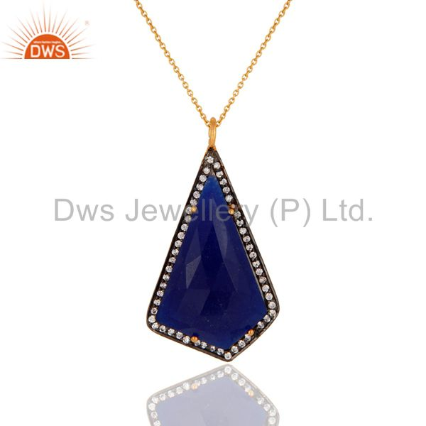 Faceted Blue Aventurine Gemstone Pendant Made In 18k Gold Over Sterling Silver