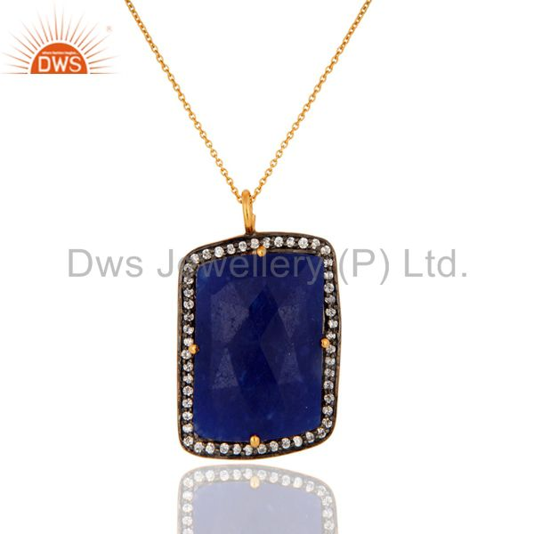 18K Gold Plated Sterling Silver CZ & Blue Aventurine Gemstone Pendant Necklace