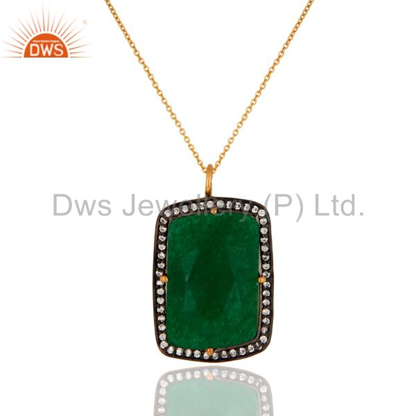 Green Aventurine Gemstone 18K Gold Plated 925 Sterling Silver Pendant With CZ