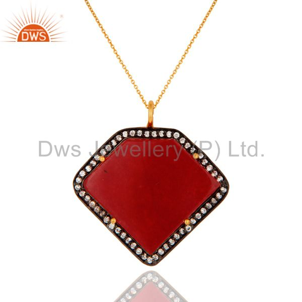 Sterling Silver With Gold Plated Red Aventurine Gemstone Designer Pendant Chain