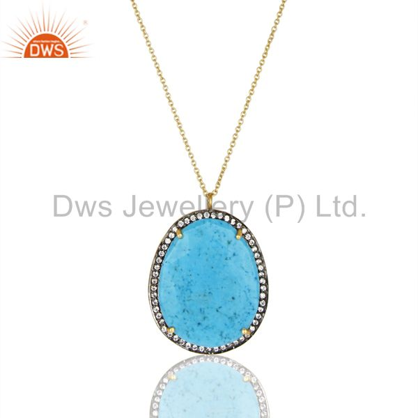 14K Gold Plated 925 Sterling Silver Turquoise White Zircon Prong Chain Pendant
