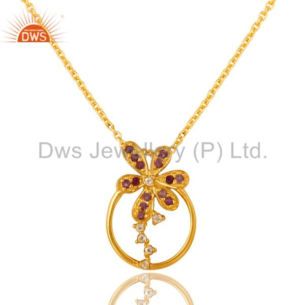 18K Gold Over Sterling Silver Amethyst And White Zircon Pendant Necklace