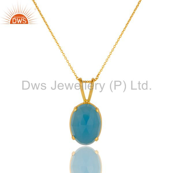 14K Yellow Gold Plated Sterling Silver Aqua Blue Chalcedony Pendant With Chain