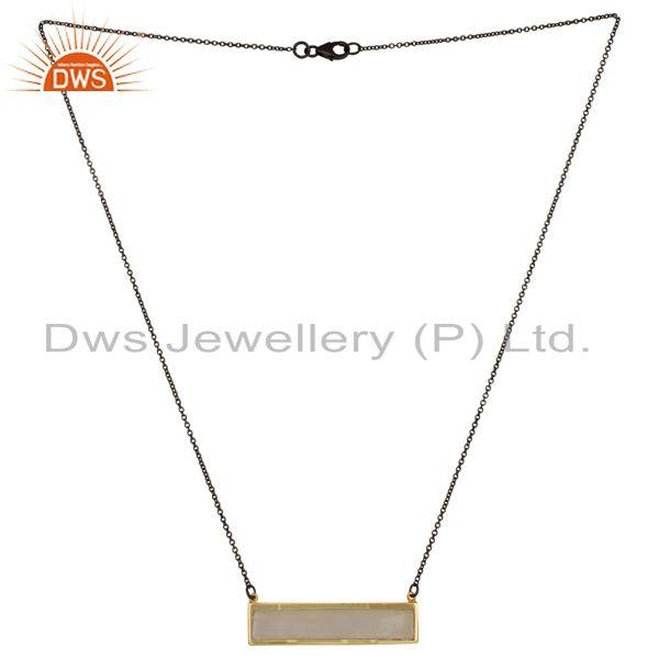 18K Gold Plated & Black 925 Silver Rainbow Moonstone Chain Pendant Necklace