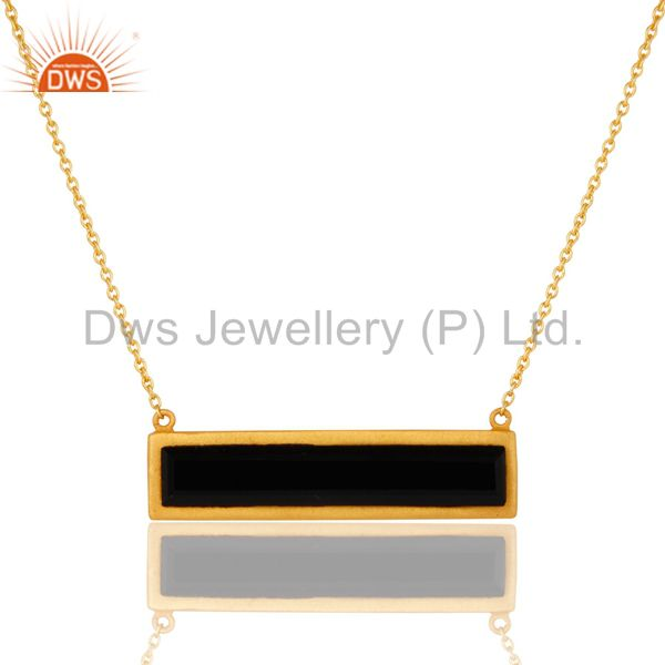 18K Yellow Gold Plated Black Onyx Sterling Silver Flat Pendant Necklace