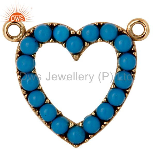 9K Solid Gold and Turquoise Heart Shape Connector Pendant Necklace Gold Jewelry
