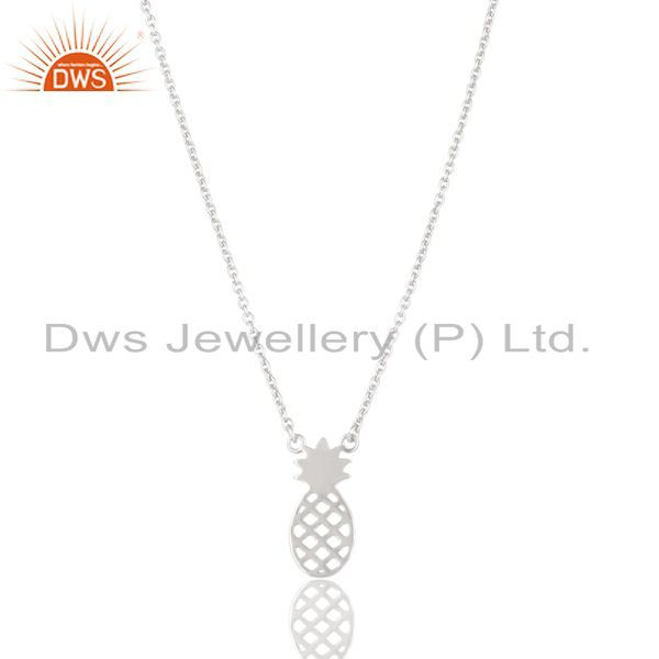 Solid 925 Sterling Silver Handmade Pineapple Style Chain Pendant Necklace