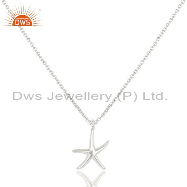Solid 925 Sterling Silver Handmade Fashion Star Style Chain Pendant Necklace