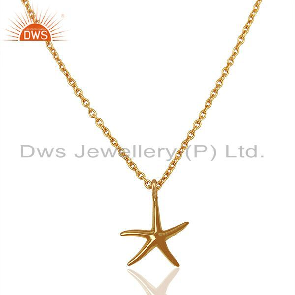 14K Gold Plated 925 Sterling Silver Handmade Fashion Star Style Chain Pendant