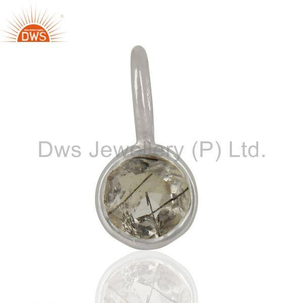 Black Rutile Sterling Silver Silver Plated Connector Pendant Gemstone Jewelry