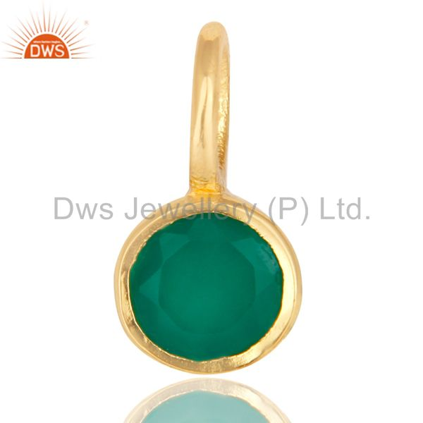 14K Yellow Gold Plated 925 Sterling Silver Green Onyx Connector Pendant
