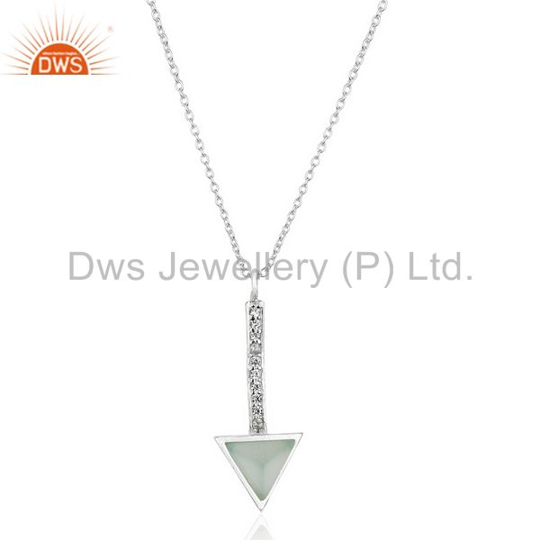 Aqua Chalcedony Triangle Cut 92.5 Sterling Silver Chain Pendent,Long Pendent