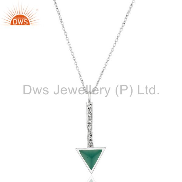 Green Onyx Triangle Cut 92.5 Sterling Silver Chain Pendent,Long Pendent