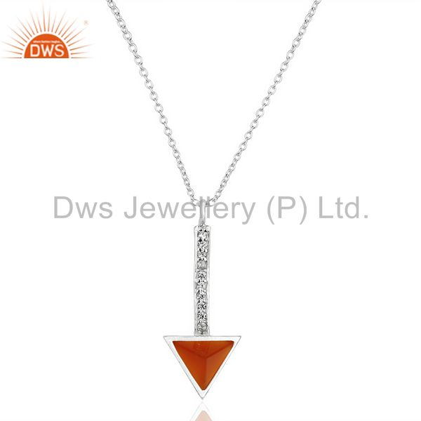 Red Onyx Triangle Cut 92.5 Sterling Silver Chain Pendent,Long Pendent